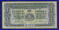 Australia R-21. (1918) Cerutty/Collins One Pound. B Prefix, F Suffix. AF-F