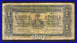 Australia R-21. (1918) Cerutty/Collins One Pound. B Prefix, L Suffix. AF-F