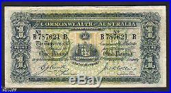 Australia R-21. 1918 Cerutty/Collins One Pound. B Prefix, R Suffix. AVF