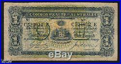 Australia R-21. (1918) Cerutty/Collins One Pound. C Prefix, r Suffix. AVF
