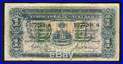 Australia R-21. 1918 Cerutty/Collins One Pound. D Prefix, Q Suffix. F+-aVF