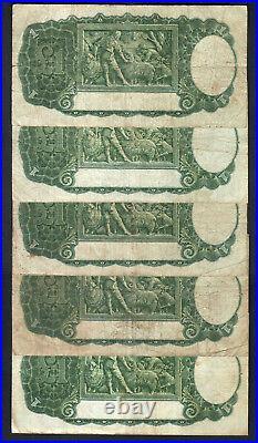 Australia R-30. (1942) One Pound Armitage/McFarlane x 5 Notes. AF-F+