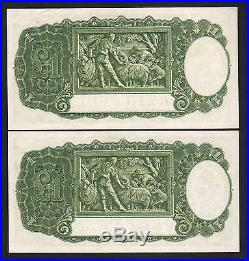 Australia R-32. (1952) One Pound Coombs/Wilson. EF CONSECUTIVE Pair