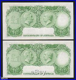 Australia R-34a (1961) One Pound. Coombs/Wilson. Reserve Bank. CONSEC Pair gEF