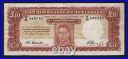 Australia R-60F. (1949) 10 Pounds Coombs/Watt. 1st Prefix V/15. VF