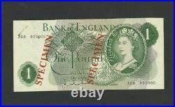B288 B288s SPECIMEN HOLLOM £1 ONE POUND NOTE BANK OF ENGLAND