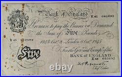 BANK of ENGLAND PEPPIATT WHITE FIVE POUNDS NOTE London Oct 8 1945