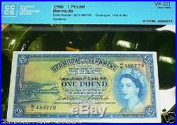 BERMUDA 1966 One POUND Pick # 20d Certified & Protected