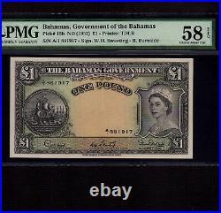 Bahamas 1 Pound 1953 P-15b PMG AU 58 EPQ Queen Elizabeth Rare Signature