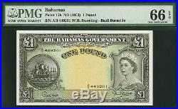 Bahamas One Pound QEII 1953 Pick-15b GEM UNC PMG 66 EPQ