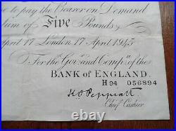 Bank Of England White Five Pound Note Peppiat London April 17 1945