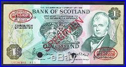Bank Of Scotland One pound, Specimen, A/1 0000000, 10-8-1970, Banknote Year
