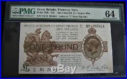 Bank of England (1922-23) One Pound Treasury Note PMG GEM 64 (PCGS-CCCS)