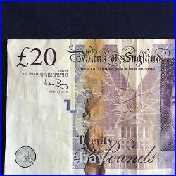 Bank of England Twenty Pounds £20 Banknote with Solid Lucky 777777 Number
