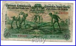 Bank of Ireland One Pound / £1 Ploughman 6th Sept 1937 Brennan & Cargan