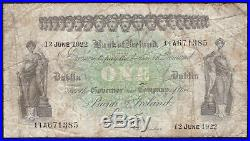 Bank of Ireland, One Pound, dated 13 June 1922. All Ireland issue. VG