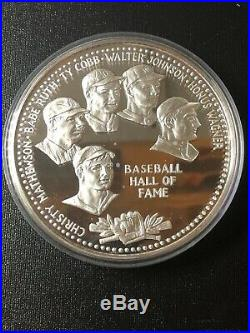 Baseball Hall of Fame Silver PROOF One Troy Pound BABE RUTH TY COBB