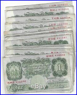 Beale Bulk lot of 50 Green One Pound Banknotes £1's Circulated 1950's B268