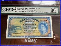 Bermuda 1966 Pick 20d One Pound Pmg 66 EPQ