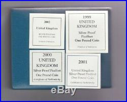 Boxed 1999 To 2002 Piedfort Silver Proof One Pound 4 Coin Set With Certificates
