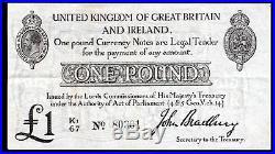 Bradbury Currency Note, One pound, (1914), K1/67 80301, (Duggleby T11), VF