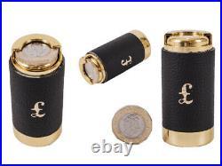 Brand New £1 One Pound Black Leather Coin Holder Coin Dispenser Coin Tube