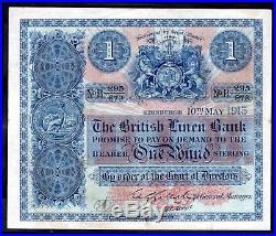 British Linen Bank. One Pound, B 295/878. 10-5-1915, Fine Very Fine