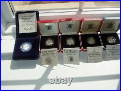 British Sterling Silver 4 x One Pound PIEDFORT Proof Coins Unc withCases & Certs