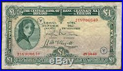 Central Bank of Ireland One Pound 1943 War Code Y. Rare date, 29.10.43. VF