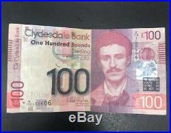 Charles Rennie Mackintosh One Hundred Pound Note £100 Scottish Clydesdale Bank