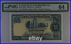 Choice UNC PMG64 1945 one 1 pound North of Scotland bank ltd £1 P-190 Aberdeen