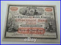 Clydesdale Bank £1 One Pound Banknote Condition -GVF -Extremely Rare