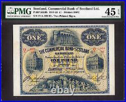 Commercial Bank of SCOTLAND Ltd One Pound 2nd January 1918 P-S323b EF PMG 45 EPQ