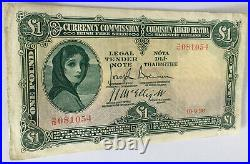 Currency Commission Irish Free State One Pound 1928. Date 10.9.28. GVF