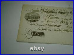 Dorsetshire General Bank One & Two Pounds 1800 Notes Old Antique Money £ 1 2