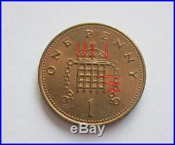 ERROR 1p ONE PENNY PENCE POUND 1984 1 COIN DIE MISSING POINTS ROYAL MINT SCARCE