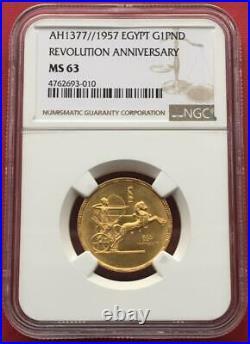Egypt, Gold 1 Pound 1957 Revolution 5th Anniversary Ngc Ms 63, Rare Date