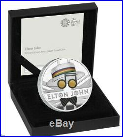 Elton John Silver Proof £2 Coin Mint Limited Edition One Ounce Two Pound Colour