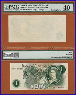 England One Pound 1970-77 ND ERROR One Side Blank Witho Print EF PMG 40