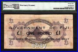 Fiji Emergency Issue Ovpt on New Zealand 1 Pound ND 1942 P-45c Very Fine PMG 25