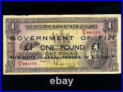 Fiji IslandsP-45c, 1 Pound, 1934(1947) EMERGENCY On New Zealand 1 Maori Chief