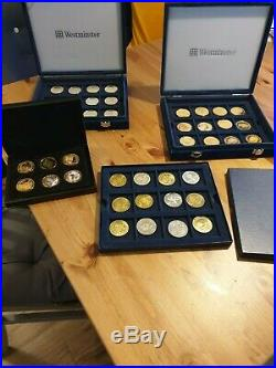 Five pound coins, one crown coins, D Day, Euro, ECU and queen coins collections