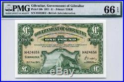 GIBRALTAR One Pound 1971 P-18b PMG 66 EPQ Gem UNC