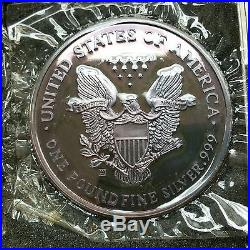 Giant 1990 Ase American Silver Eagle Deep Purple Rainbow Toned One Pound Stunner