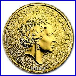 Gold Queen's Beasts Dragon 25 Pound 2017 UK Great Britain 1/4 oz 999.9 Fine Gold