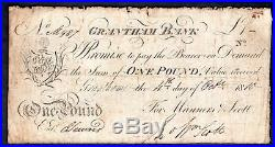 Grantham Bank Lincolnshire, One pound, 4-10-1810, For Manners & Scott, Out