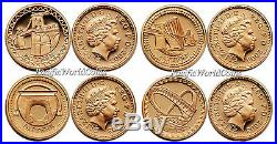 Great Britain 2003 Pattern one Pound 22K 4pc Gold Poorf Set with Box & COA
