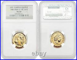 Great Britain Britannia 2001 (Una and the Lion) 25 Pounds 1/4 oz Gold NGC MS69