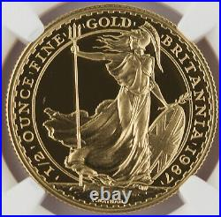 Great Britain UK 1987 BRITANNIA 1/2 Oz Gold £50 Pound Proof Coin NGC PF70 UC