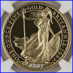 Great Britain UK 1987 BRITANNIA 1 Oz Gold £100 Pound Proof Coin NGC PF69 UC